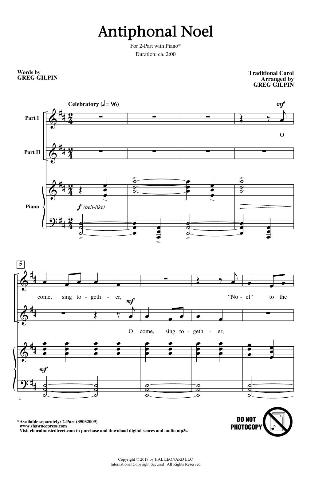 Greg Gilpin Antiphonal Noel sheet music notes and chords