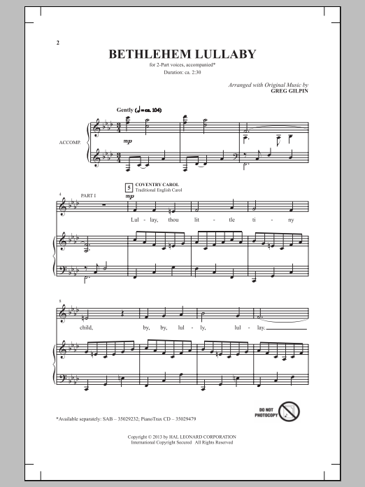 Greg Gilpin Bethlehem Lullaby sheet music notes and chords. Download Printable PDF.