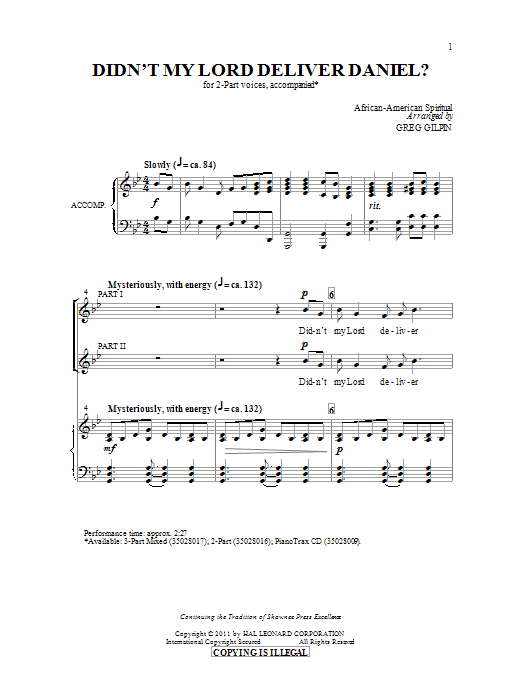 Greg Gilpin Didn't My Lord Deliver Daniel? sheet music notes and chords. Download Printable PDF.