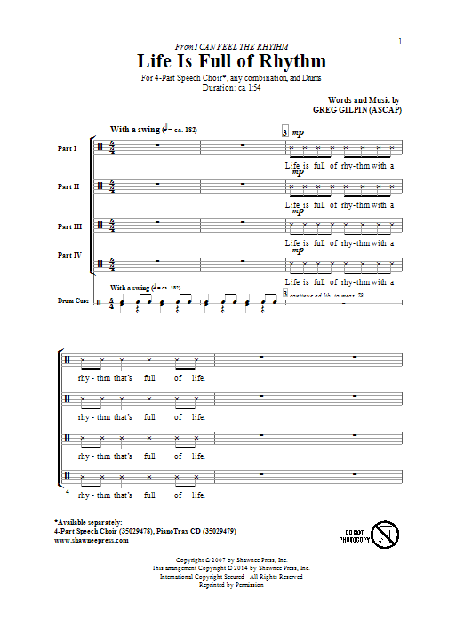 Greg Gilpin Life Is Full Of Rhythm sheet music notes and chords. Download Printable PDF.