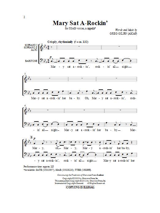 Greg Gilpin Mary Sat A-Rockin' sheet music notes and chords. Download Printable PDF.