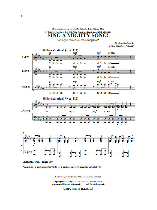 Greg Gilpin Sing A Mighty Song! sheet music notes and chords