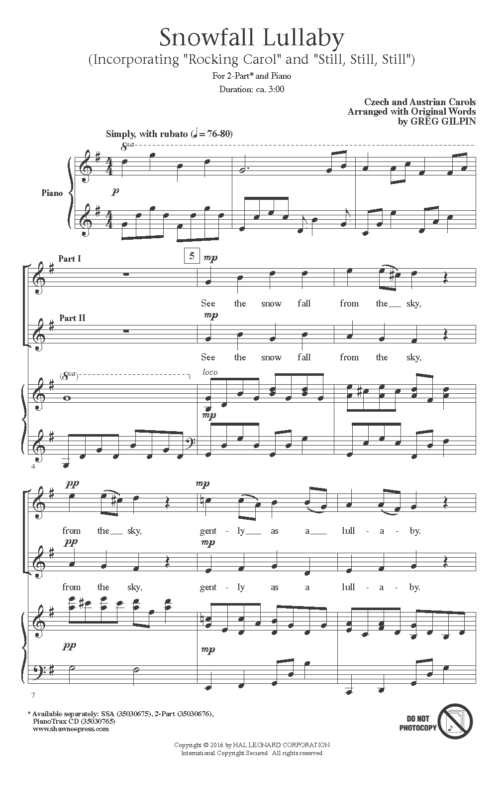 Greg Gilpin Snowfall Lullaby sheet music notes and chords. Download Printable PDF.