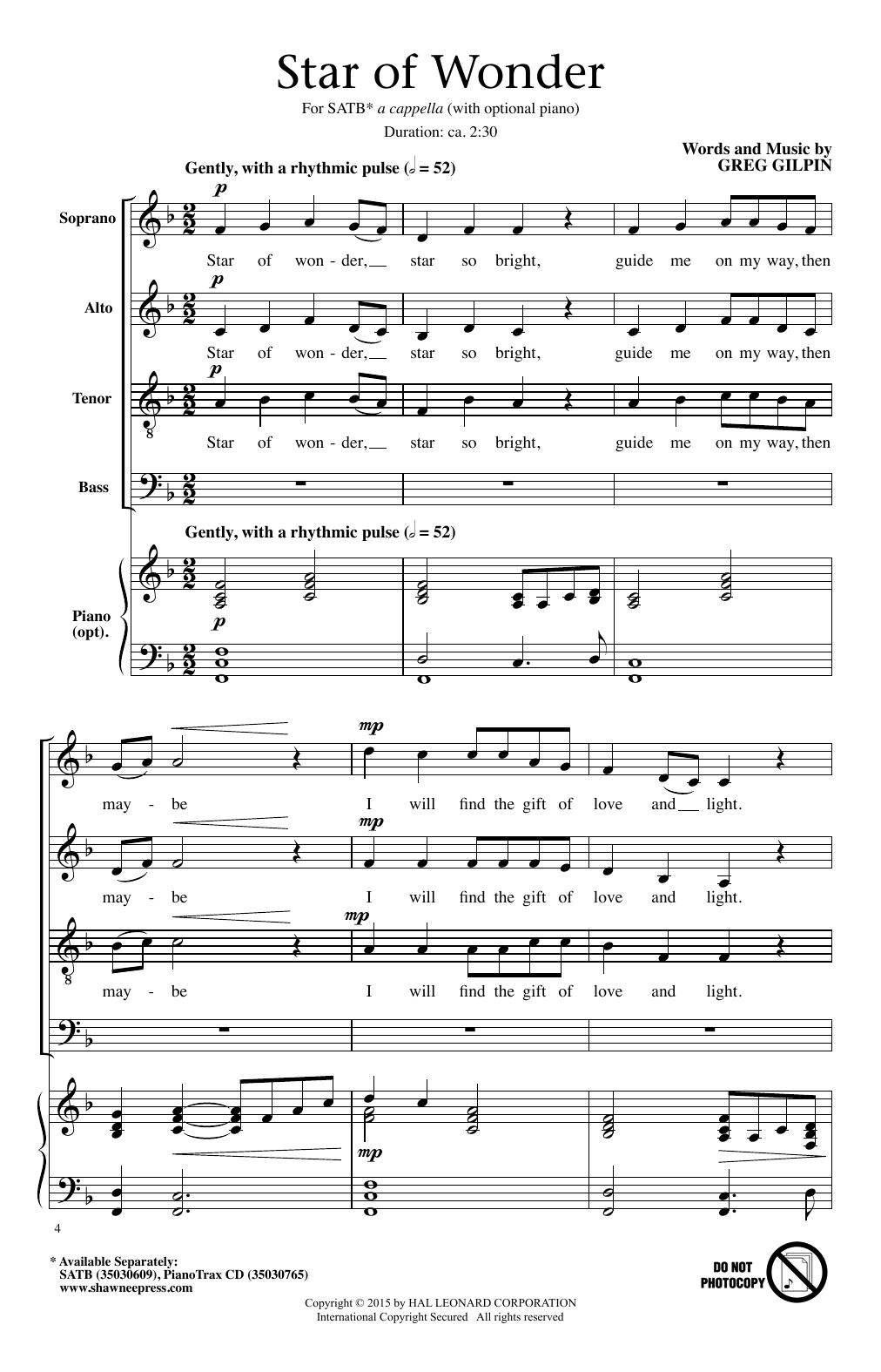 Greg Gilpin Star Of Wonder sheet music notes and chords. Download Printable PDF.