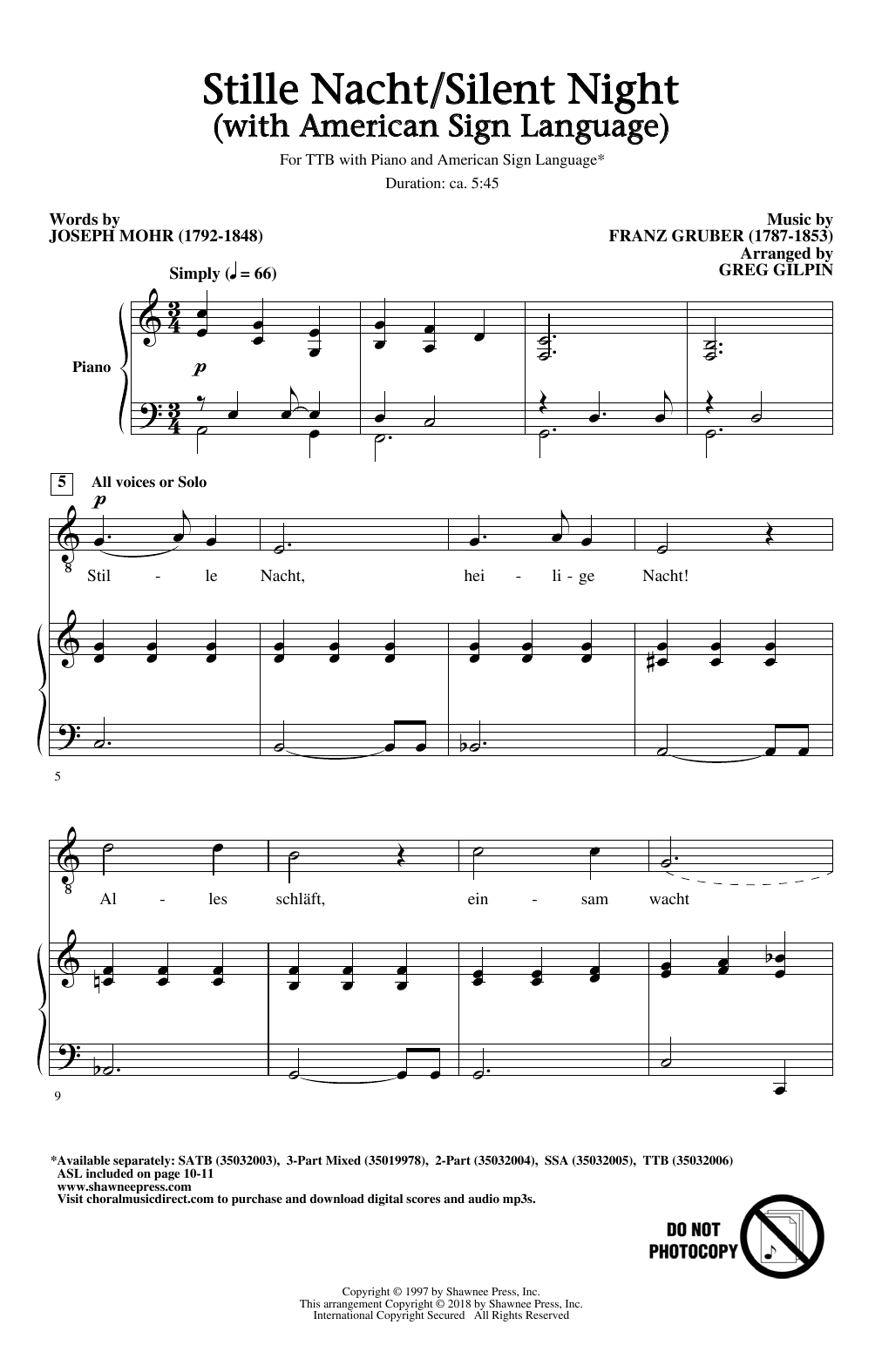 Greg Gilpin Stille Nacht/Silent Night (With American Sign Language) sheet music notes and chords