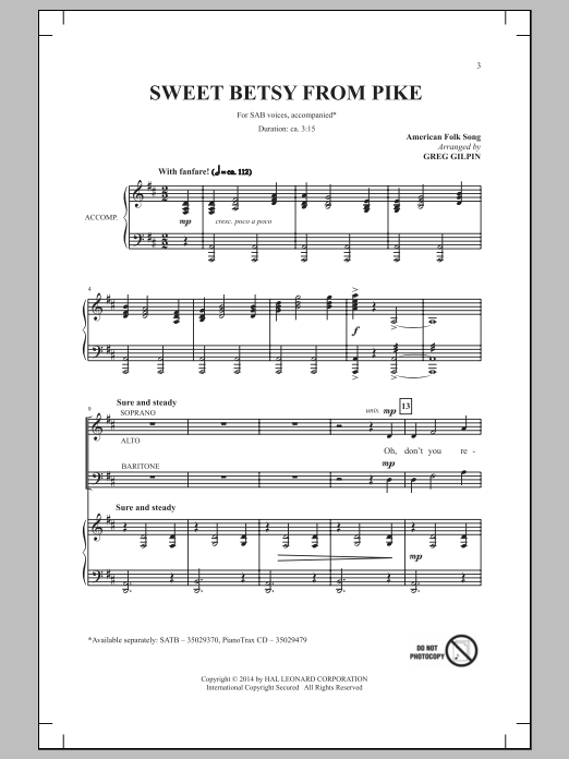 Greg Gilpin Sweet Betsy From Pike sheet music notes and chords. Download Printable PDF.