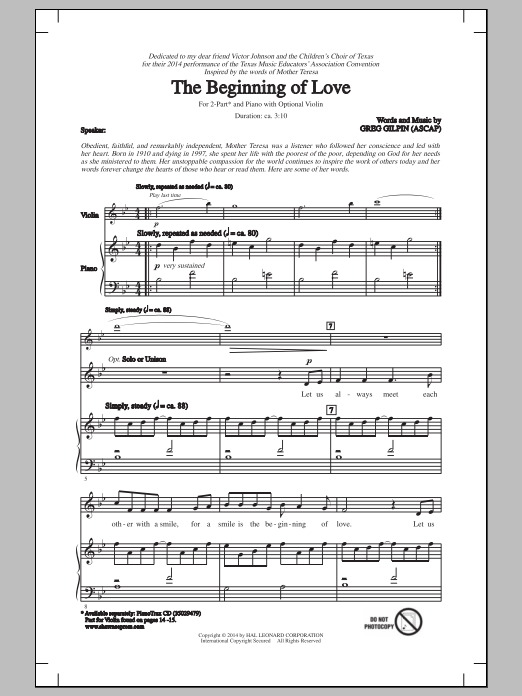 Greg Gilpin The Beginning Of Love sheet music notes and chords. Download Printable PDF.