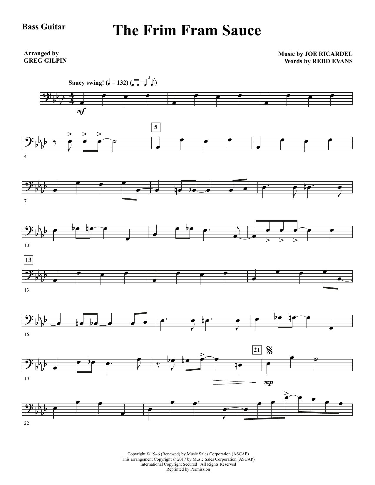 Greg Gilpin The Frim Fram Sauce - Bass sheet music notes and chords. Download Printable PDF.