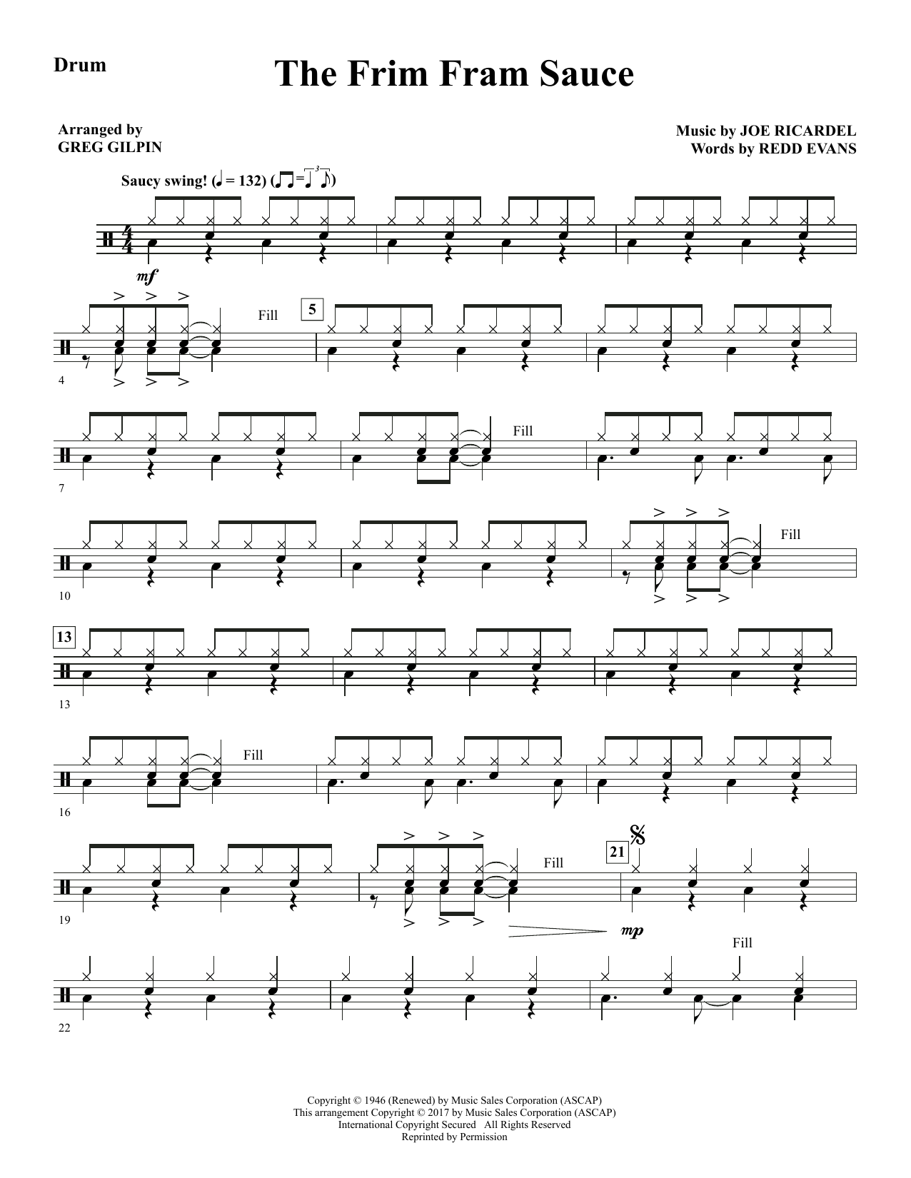 Greg Gilpin The Frim Fram Sauce - Drums sheet music notes and chords. Download Printable PDF.