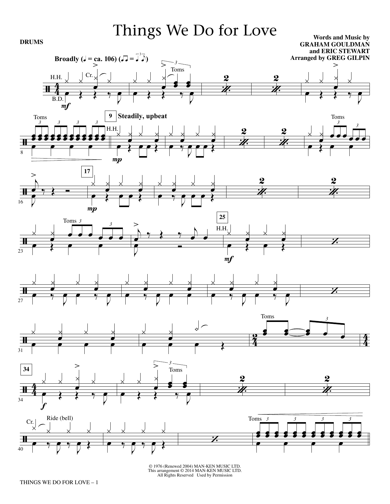 Greg Gilpin Things We Do for Love - Drums sheet music notes and chords. Download Printable PDF.