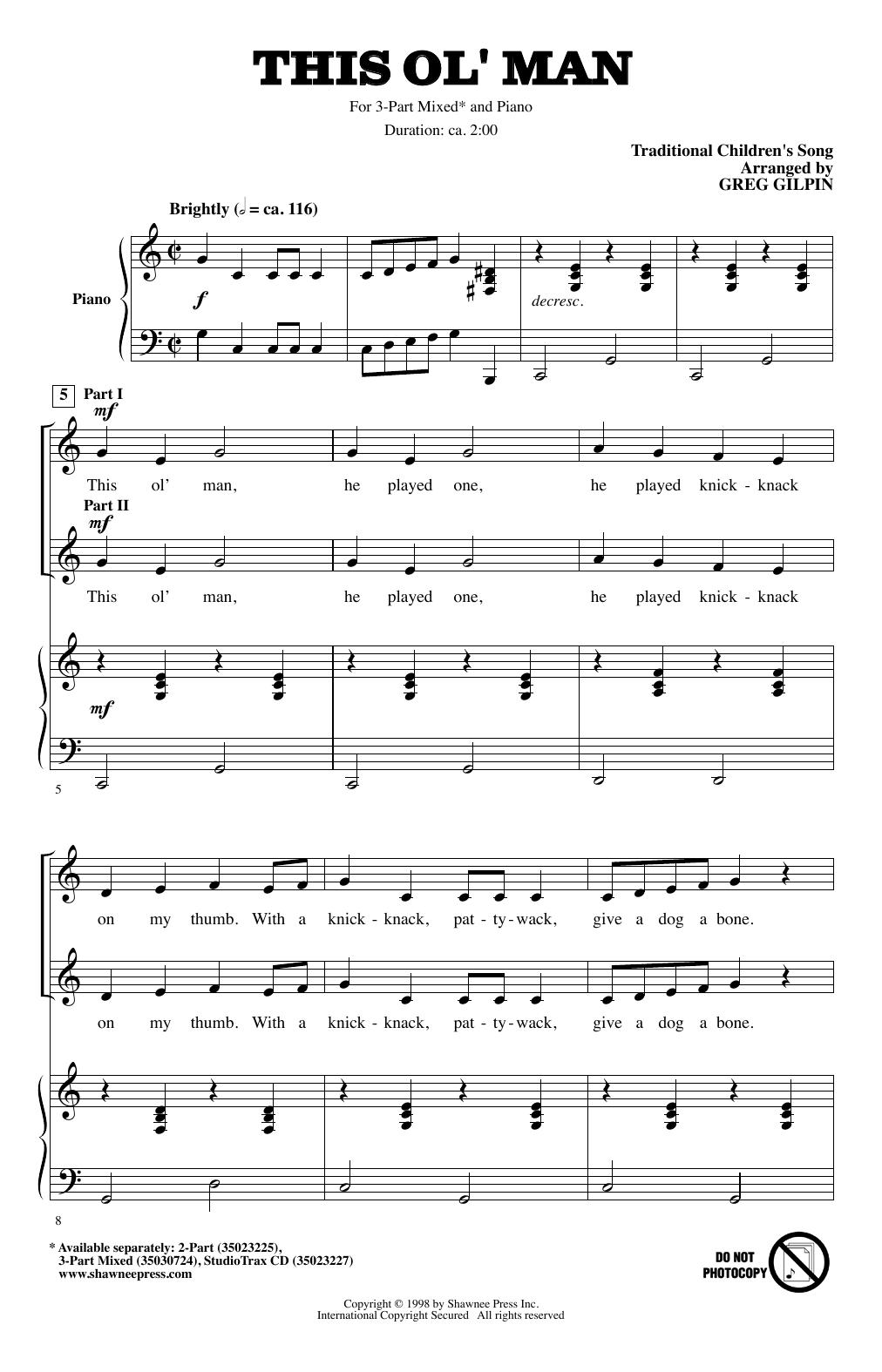 Greg Gilpin This Ol' Man sheet music notes and chords. Download Printable PDF.