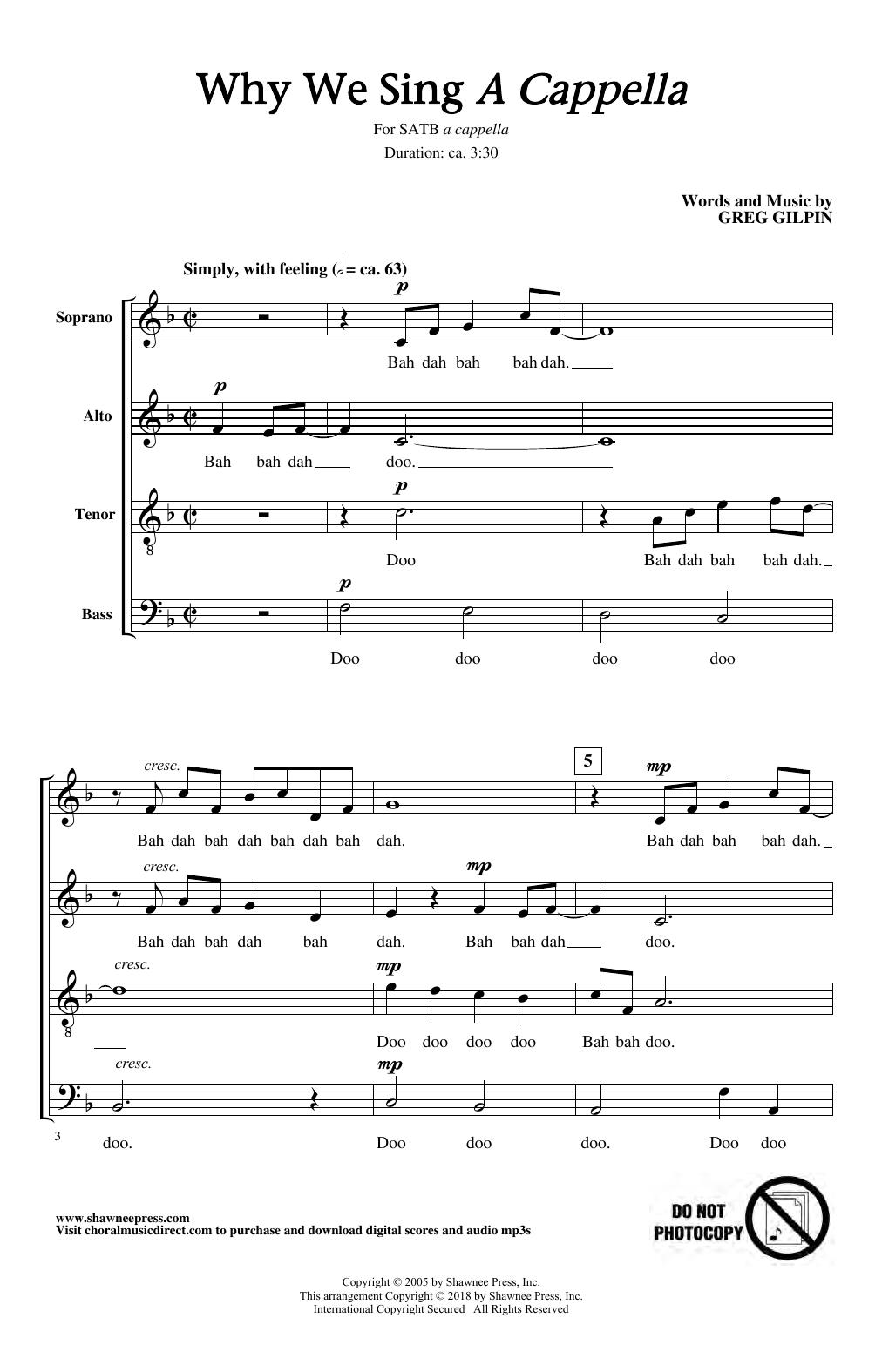 Greg Gilpin Why We Sing sheet music notes and chords. Download Printable PDF.