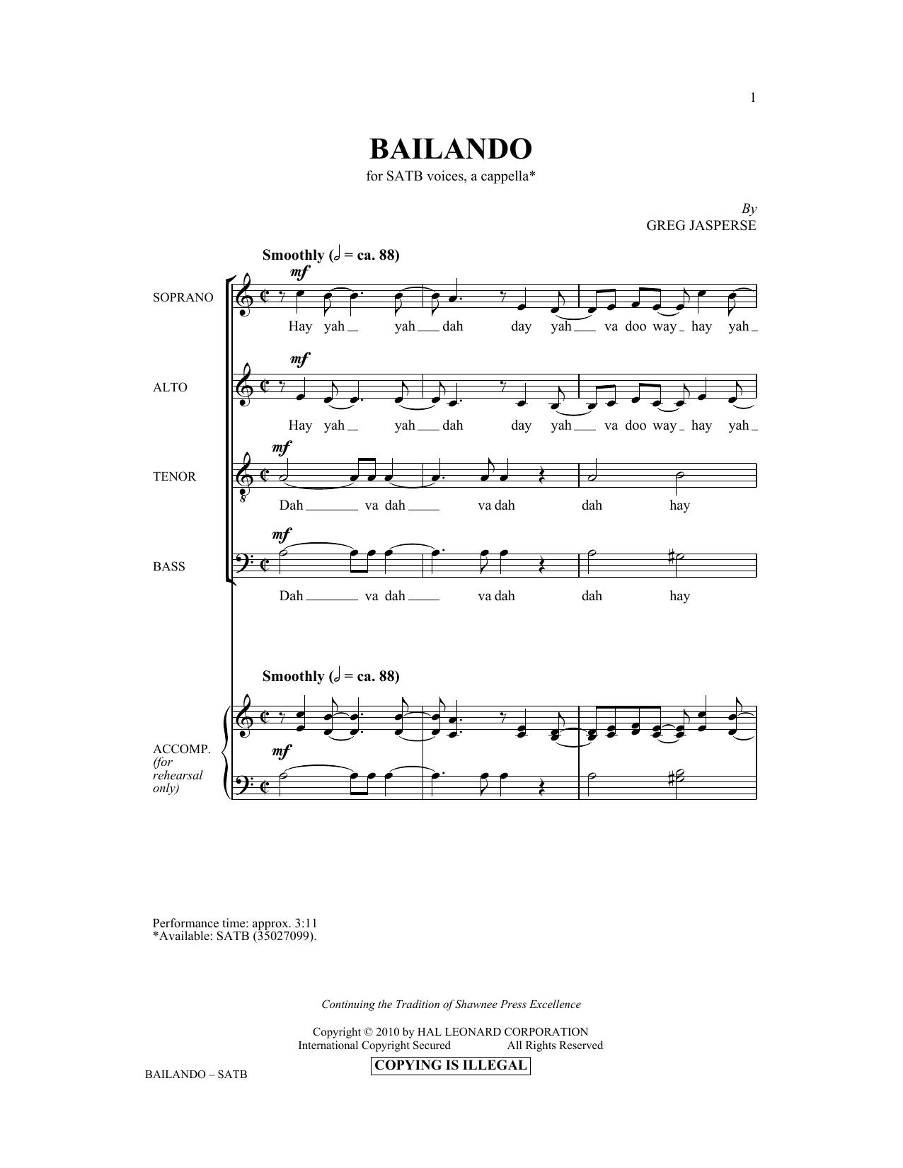 Greg Jasperse Bailando sheet music notes and chords. Download Printable PDF.