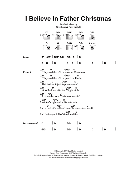 Greg Lake I Believe In Father Christmas sheet music notes and chords. Download Printable PDF.