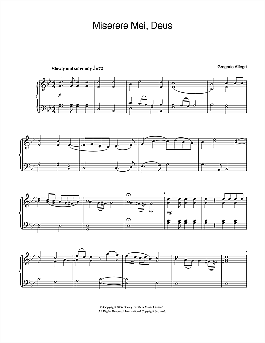 Gregorio Allegri Miserere Mei Deus sheet music notes and chords. Download Printable PDF.
