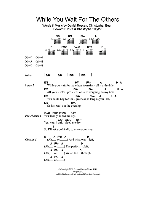 Grizzly Bear While You Wait For The Others sheet music notes and chords. Download Printable PDF.
