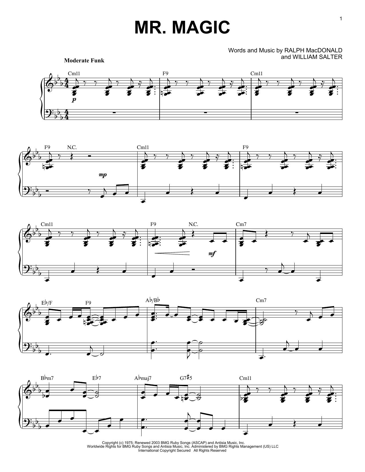 Grover Washington Jr Mr Magic Sheet Music Notes Chords Download Printable Piano Solo Sku 404075