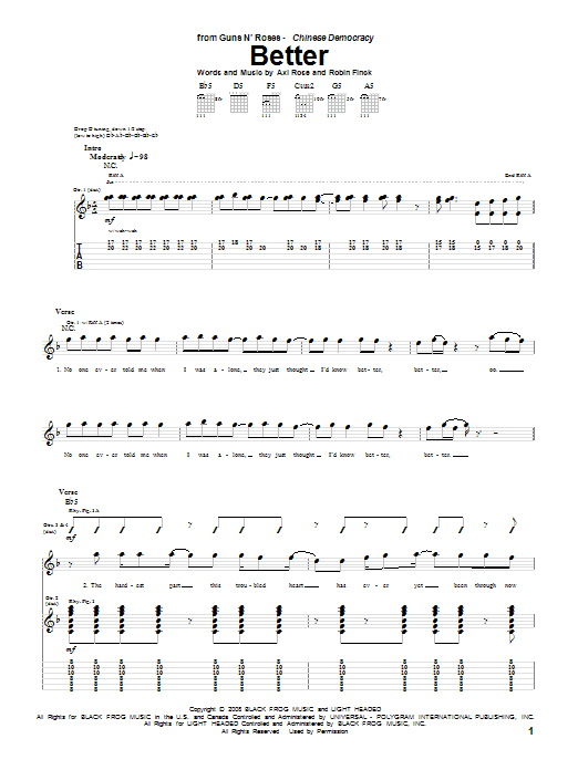 Guns N' Roses Better sheet music notes and chords. Download Printable PDF.