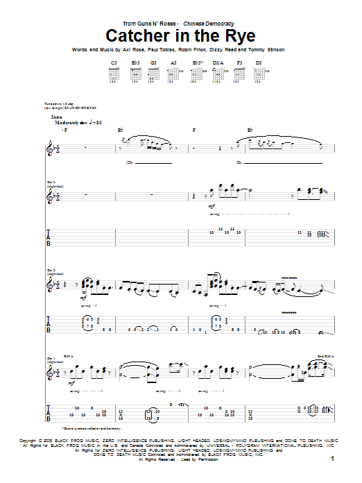 Guns N' Roses Catcher In The Rye sheet music notes and chords. Download Printable PDF.