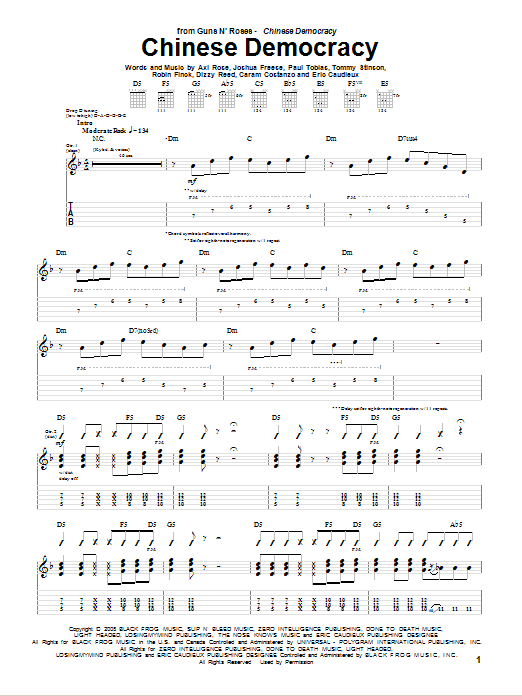 Guns N' Roses 'Chinese Democracy' Sheet Music Notes, Chords | Download  Printable Guitar Tab - SKU: 73079