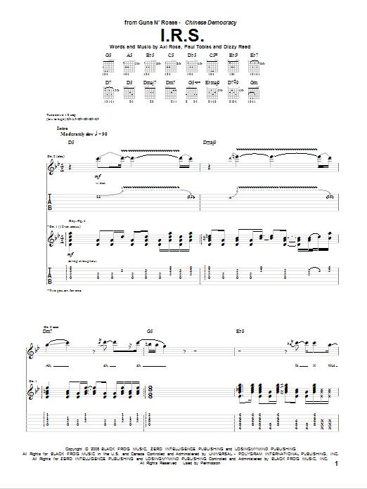 Guns N' Roses I.R.S. sheet music notes and chords. Download Printable PDF.