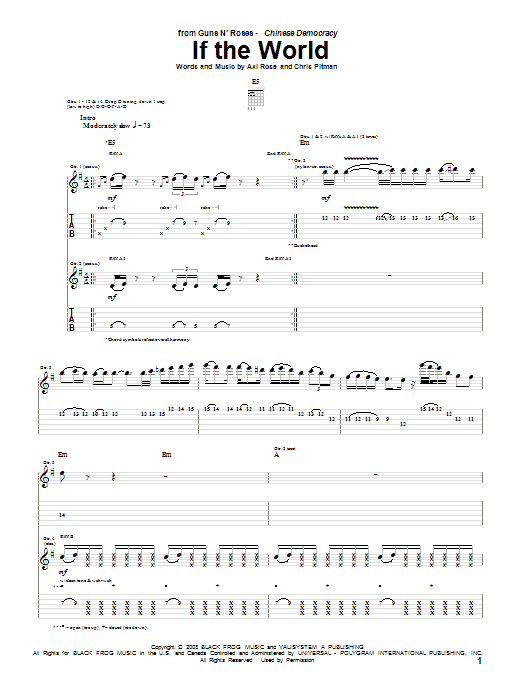 Guns N' Roses If The World sheet music notes and chords. Download Printable PDF.