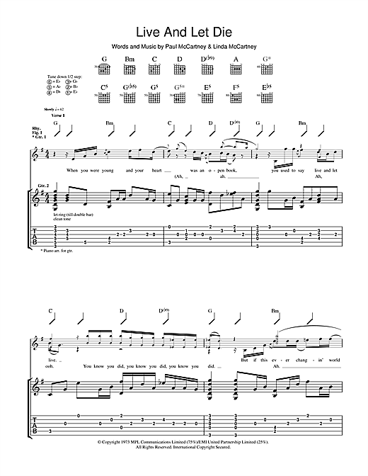 Guns N' Roses Live And Let Die sheet music notes and chords. Download Printable PDF.
