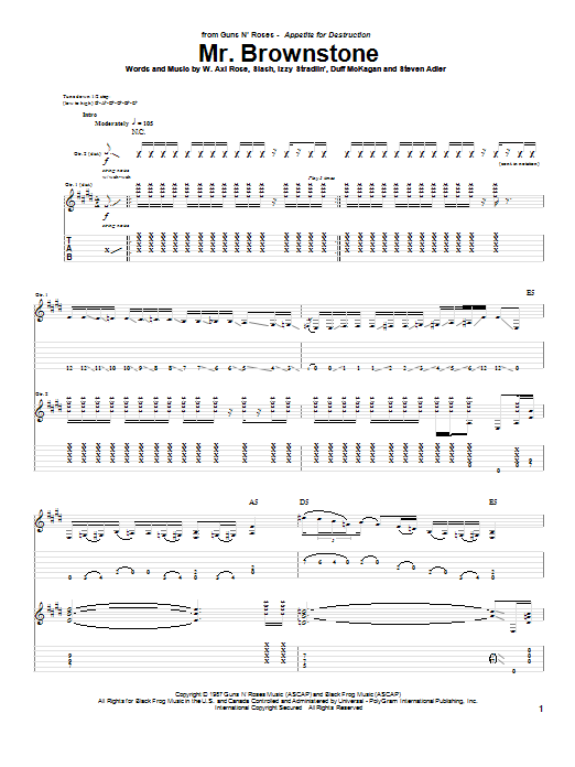 Guns N' Roses Mr. Brownstone sheet music notes and chords. Download Printable PDF.
