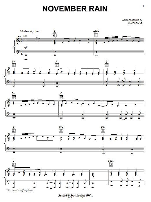 Guns N' Roses November Rain sheet music notes and chords. Download Printable PDF.
