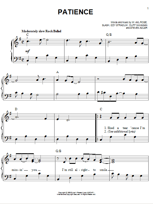 Guns N' Roses Patience sheet music notes and chords. Download Printable PDF.