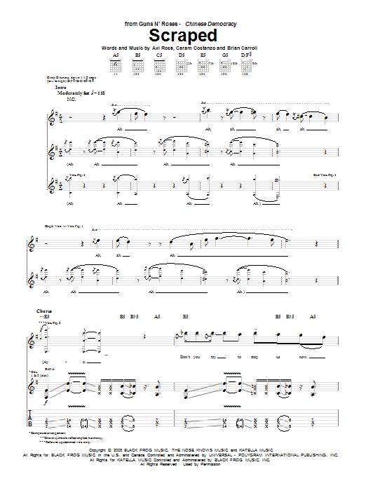 Guns N' Roses Scraped sheet music notes and chords. Download Printable PDF.