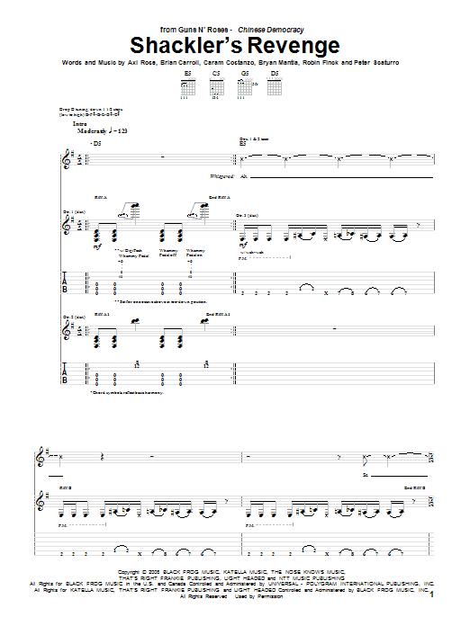 Guns N' Roses Shackler's Revenge sheet music notes and chords. Download Printable PDF.