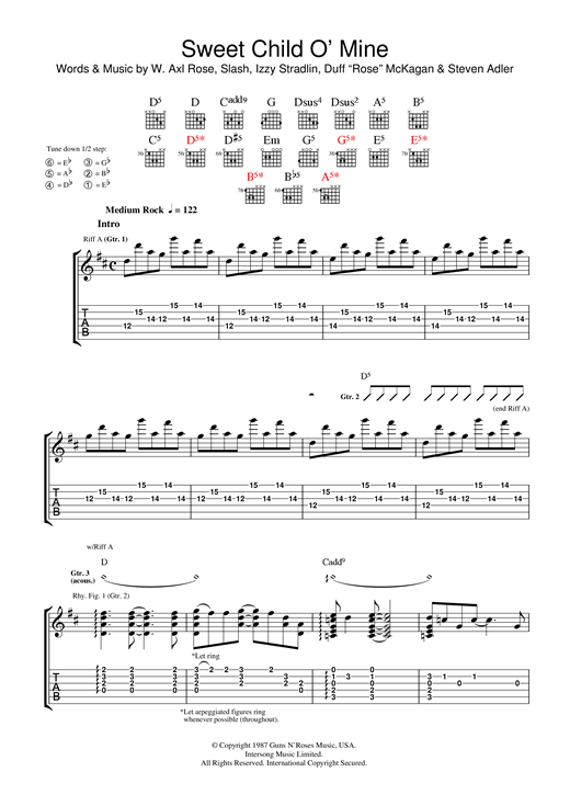 Guns N' Roses Sweet Child O' Mine sheet music notes and chords. Download Printable PDF.