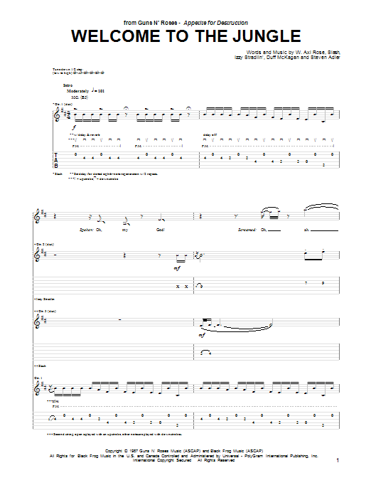 Guns N' Roses Welcome To The Jungle sheet music notes and chords. Download Printable PDF.