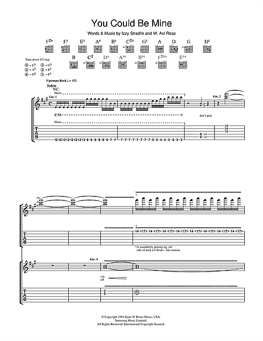Guns N' Roses You Could Be Mine sheet music notes and chords. Download Printable PDF.