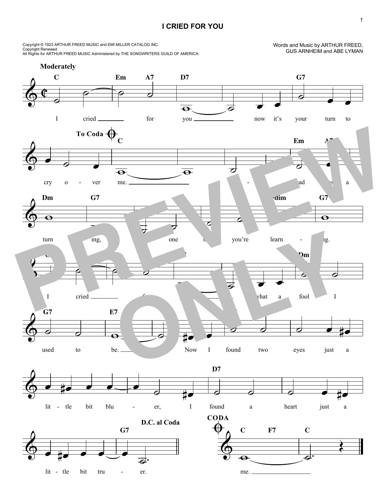 Gus Arnheim I Cried For You sheet music notes and chords. Download Printable PDF.