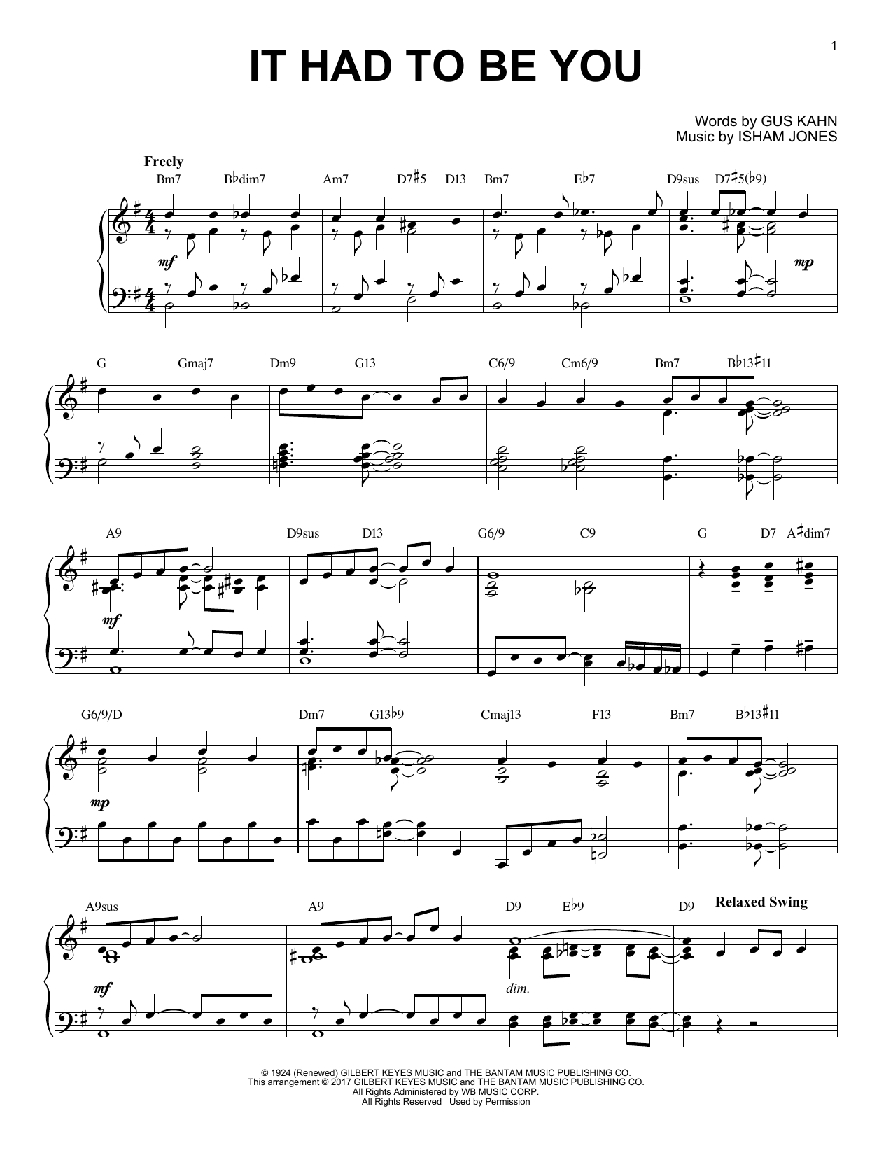 Gus Kahn It Had To Be You [Jazz version] sheet music notes and chords. Download Printable PDF.