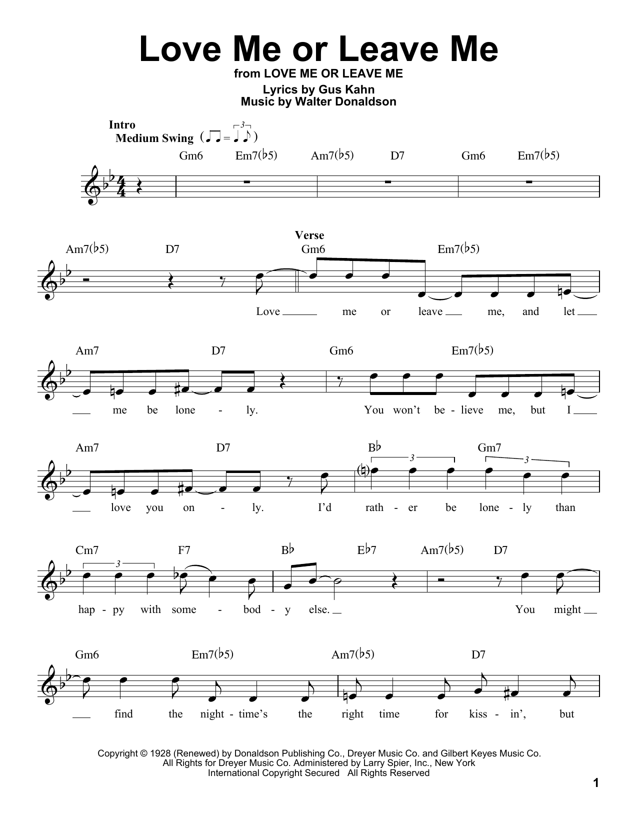 Gus Kahn Love Me Or Leave Me sheet music notes and chords. Download Printable PDF.