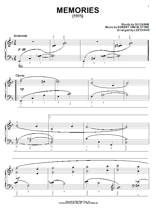Gus Kahn Memories sheet music notes and chords. Download Printable PDF.