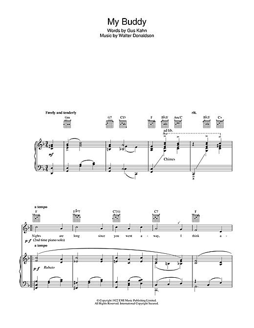 Gus Kahn My Buddy sheet music notes and chords