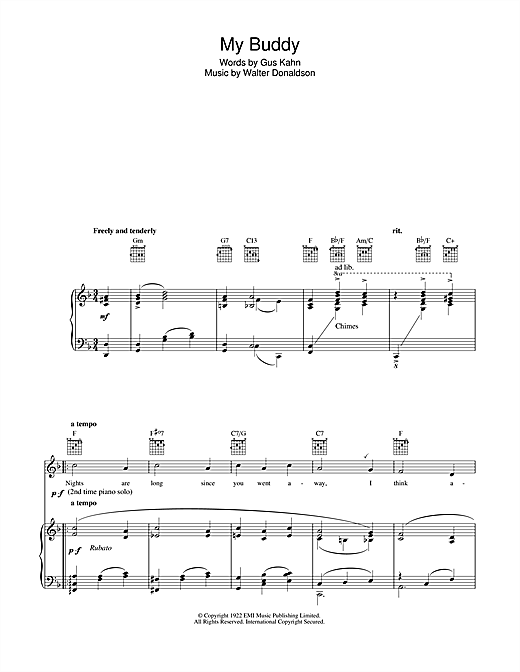 Gus Kahn My Buddy sheet music notes and chords. Download Printable PDF.