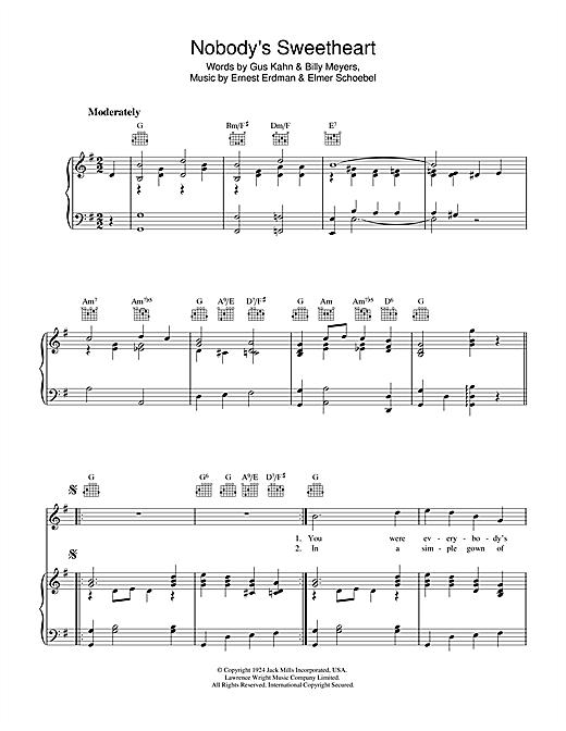 Gus Kahn Nobody's Sweetheart sheet music notes and chords. Download Printable PDF.