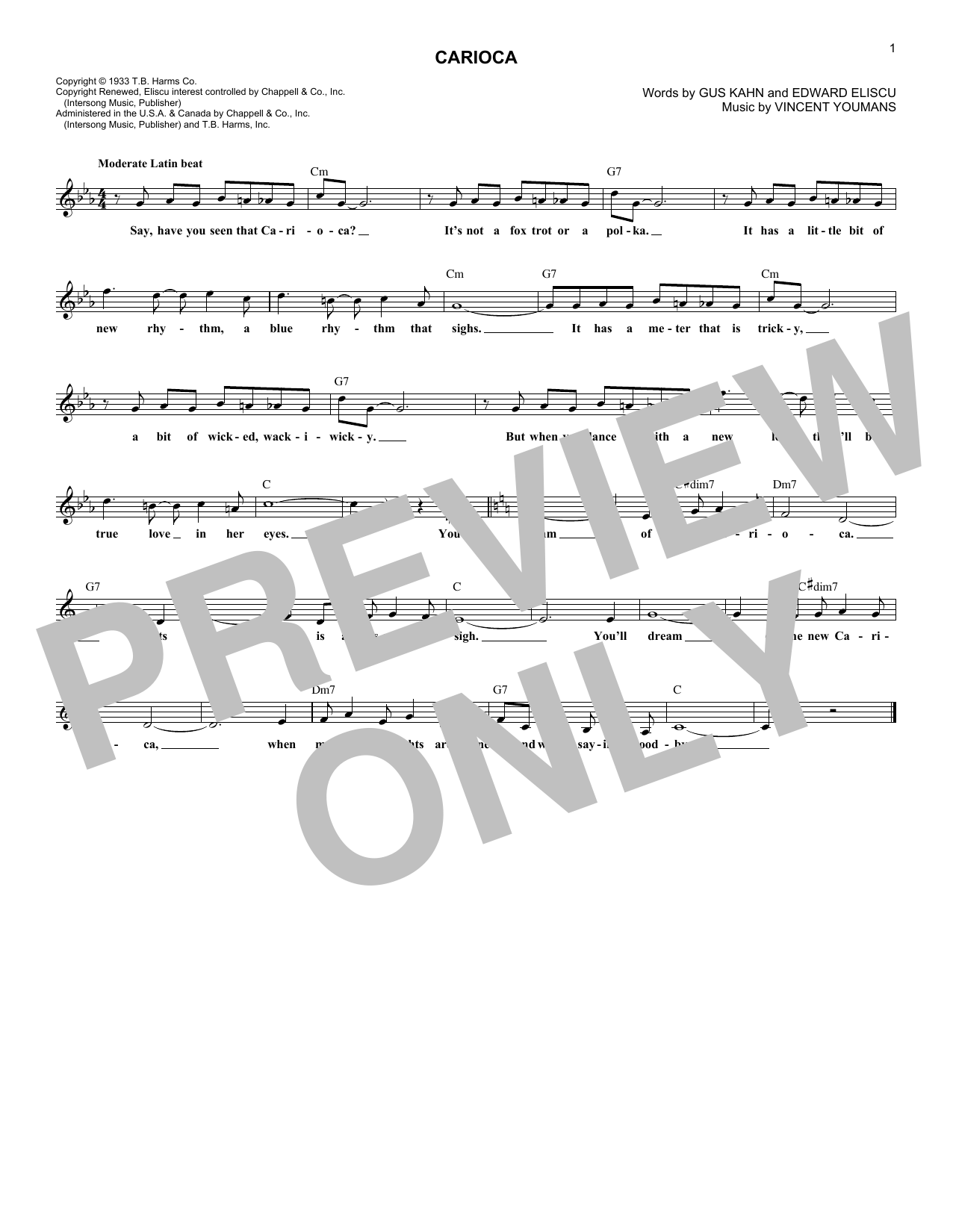 Gus Kahn The Carioca sheet music notes and chords. Download Printable PDF.