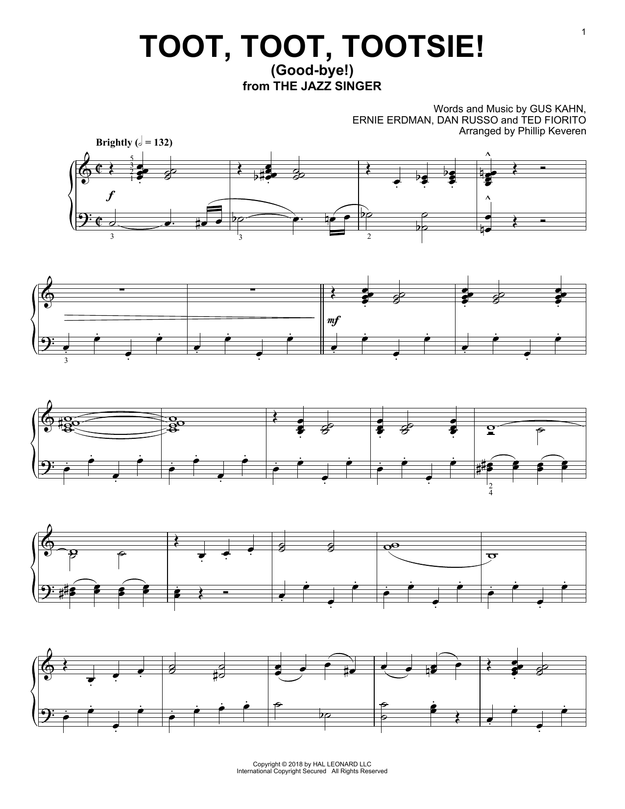 Gus Kahn Toot, Toot, Tootsie! (Good-bye!) [Jazz version] (arr. Phillip Keveren) sheet music notes and chords. Download Printable PDF.