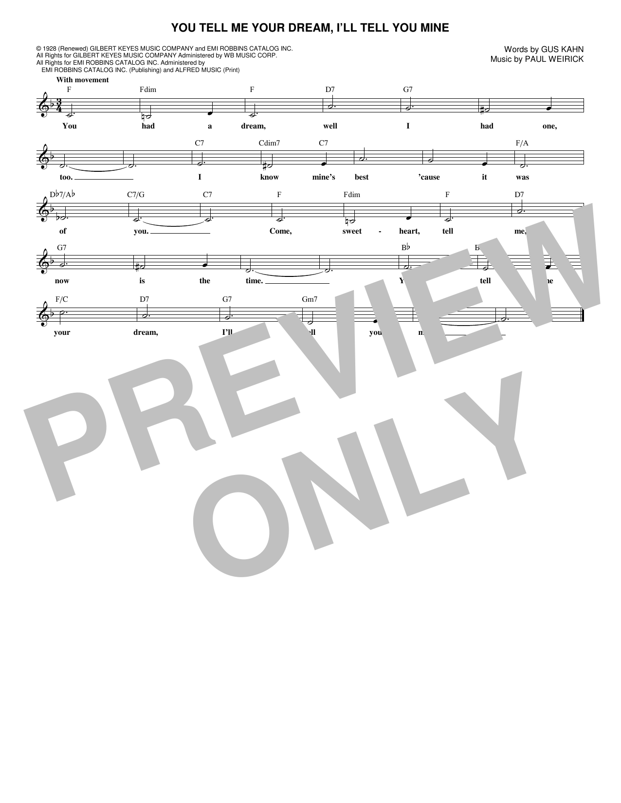Gus Kahn You Tell Me Your Dream, I'll Tell You Mine sheet music notes and chords. Download Printable PDF.