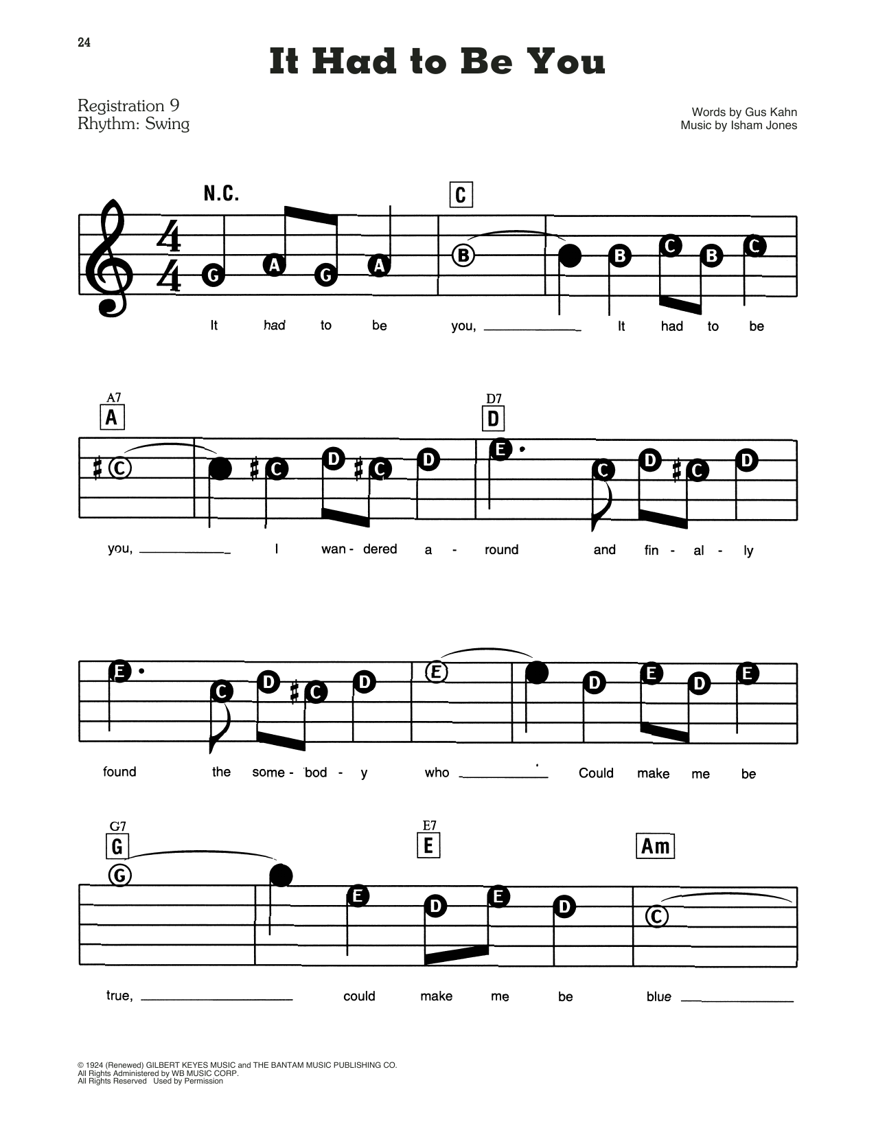 Gus Kahn and Isham Jones It Had To Be You sheet music notes and chords. Download Printable PDF.
