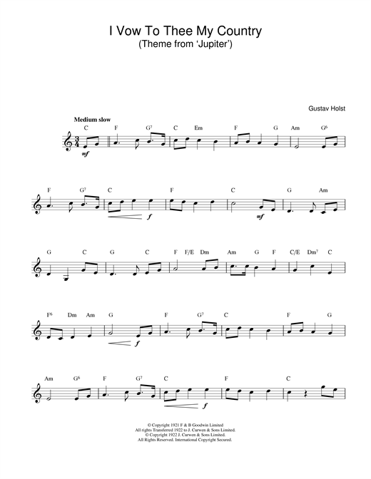 Gustav Holst I Vow To Thee My Country sheet music notes and chords