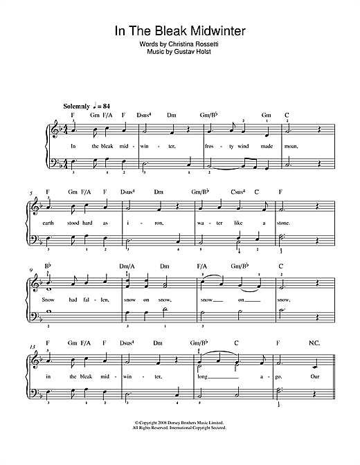 Gustav Holst In The Bleak Midwinter sheet music notes and chords. Download Printable PDF.