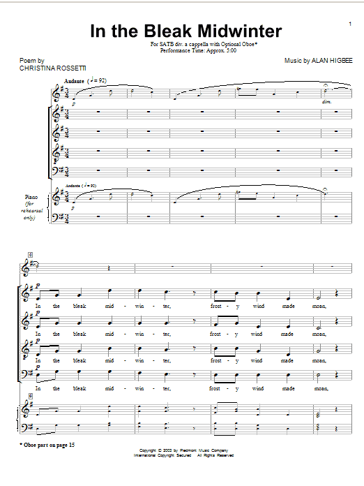 Gustav Holst In The Bleak Midwinter (arr. Alan Higbee) sheet music notes and chords. Download Printable PDF.