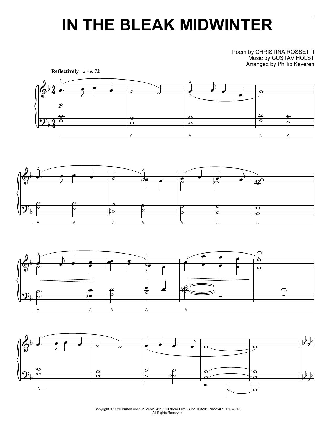 Gustav Holst In The Bleak Midwinter (arr. Phillip Keveren) sheet music notes and chords. Download Printable PDF.